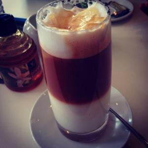 My favourite! Iced red latte served with fresh orange blossom honey
